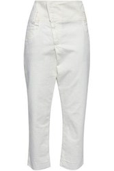 Brunello Cucinelli Woman Cropped High Rise Tapered Jeans Ivory