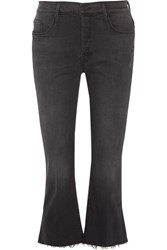 Mother The Nomad Cropped Mid Rise Flared Jeans Black
