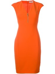 Versace Collection V Neck Fitted Dress Yellow Orange