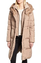 Cole Haan Down And Feather Coat With Faux Fur Hood Sand