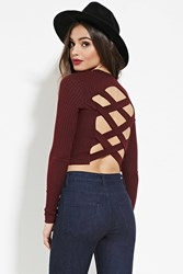 Forever 21 Marled Strappy Cutout Crop Top Burgundy