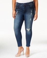 Melissa Mccarthy Seven7 Plus Size Ripped Blue Wash Pencil Jeans