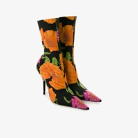 Balenciaga Knife Flower Print Booties Black