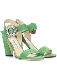 Jimmy Choo Mischa 85 Suede Sandals Green