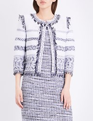 St John Tajdar Fringed Tweed Jacket Bianco Navy