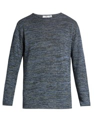 Inis Meain Crew Neck Linen Sweater Navy Multi