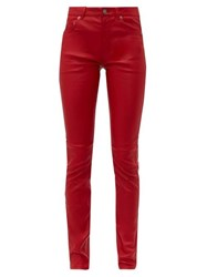 Saint Laurent Slim Fit Leather Trousers Red