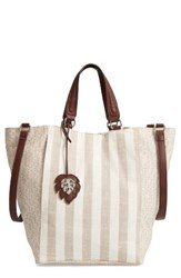 Tommy Bahama Reef Convertible Tote Beige Striped Linen