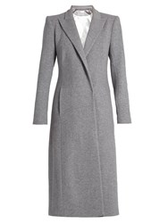 Carl Kapp Long Masera Peak Lapel Wool Blend Coat Light Grey