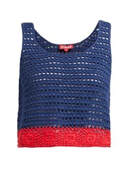 Staud Guppie Colour Block Crochet Cotton Crop Top Navy