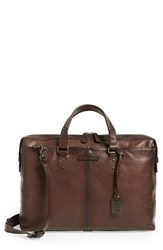 Men's Frye 'Ben Artisan' Leather Briefcase Beige Dark Brown