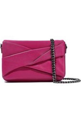 Halston Heritage Woman Grace Small Pleated Leather Shoulder Bag Magenta