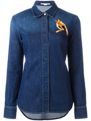 Stella Mccartney Embroidered Bird Denim Shirt Blue