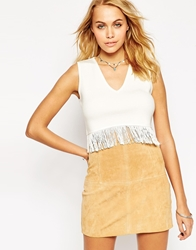 Asos Crop Tank In Knit With Fringing White