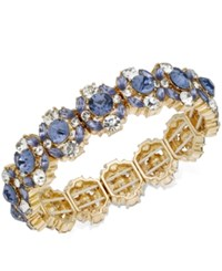 Charter Club Gold Tone Crystal And Blue Stone Stretch Bracelet Created For Macy's