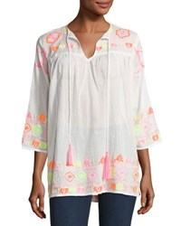 Saffire Neon Embroidered Tassel Top White