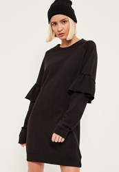 Missguided Black Frill Sleeve Jumper Dress
