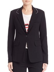 Sonia Rykiel Fluid Crepe Zipper Collar Blazer Black