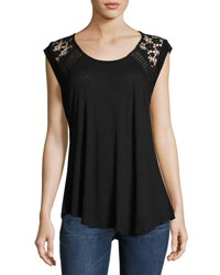 Catherine Malandrino Lace Trim Relaxed Tee Black