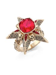 Alexander Mcqueen Star Skull Crystal Ring Gold Red