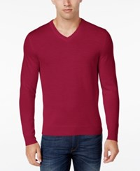 Club Room Men's Big And Tall Merino Wool V Neck Sweater Only At Macy's Cherry