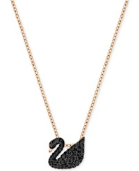 Swarovski Rose Gold Tone Crystal Pave Black Swan Pendant Necklace