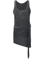 Unconditional Leopard Flower Print Tank Top Grey