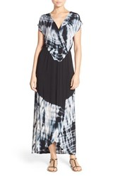 Fraiche By J Women's Tie Dye Faux Wrap Maxi Dress Black