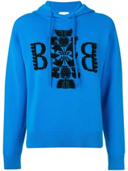 Barrie Cashmere Embroidered Logo Hoodie Blue