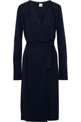 Iris And Ink Arianna Stretch Knit Wrap Dress Navy