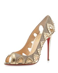 Christian Louboutin Pinder City Spiked Cutout Red Sole Pump Gold