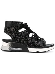 Ash Trainer Style Sequin Sandals Black