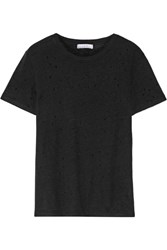 Iro Distressed Linen Jersey T Shirt Black