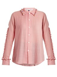 Jupe By Jackie Diwali Embroidered Frill Wool Shirt Pink