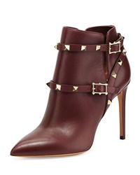 Rockstud Harness Ankle Boot Wine Valentino Red