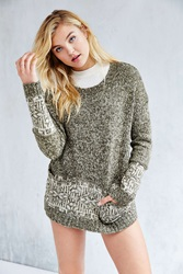 Ecote Patterned Pocket Pullover Sweater Green Multi