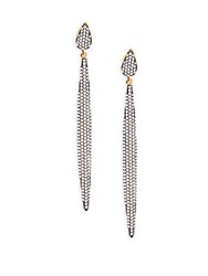 Azaara Crystal And Sterling Silver Linear Drop Earrings Rhodium