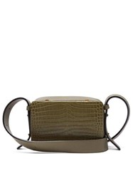 Lutz Morris Maya Crocodile Effect Cross Body Bag Khaki