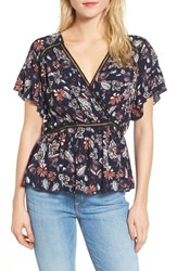 Ella Moss Floral Surplice Top Navy