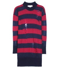 Stella Mccartney Striped Mohair And Wool Blend Sweater Dress Blue