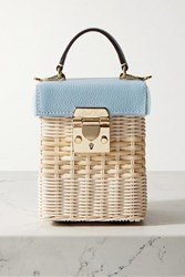 Mark Cross Grace Cube Rattan And Textured Leather Tote Sky Blue