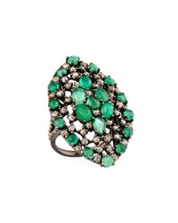 Bavna Emerald And Champagne Diamond Cocktail Ring Size 7