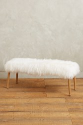 Anthropologie Luxe Fur Bench White