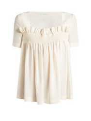 Stella Mccartney Smocked Crepe De Chine Top Ivory