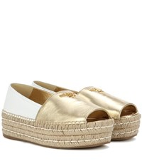 Prada Leather Peep Toe Espadrille Shoes Gold