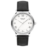 Montblanc 112609 Men's Tradition Date Automatic Alligator Leather Strap Watch Black White