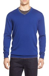 Men's Bugatchi Tipped Merino Wool V Neck Sweater Night Blue