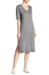 Candc California Indie Slouchy Midi Tee Dress Gray