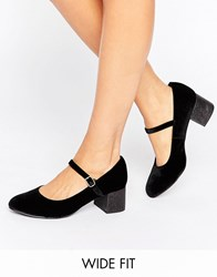 New Look Wide Fit Velvet Glitter Block Heeled Shoe Black