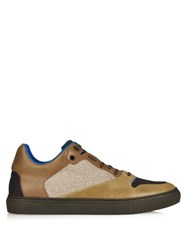 Balenciaga Cracked Leather Low Top Trainers Khaki